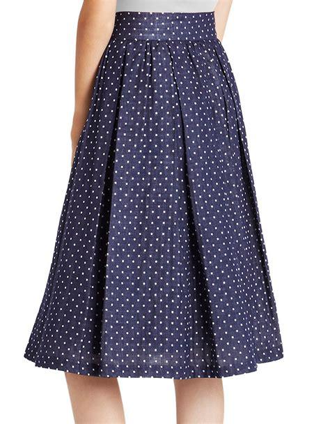 Dot Pleated Skirt bcbgeneration pleated polka dot skirt in blue lyst