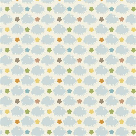 Paper Pattern - digital printable baby cloud a4 repeat pattern paper