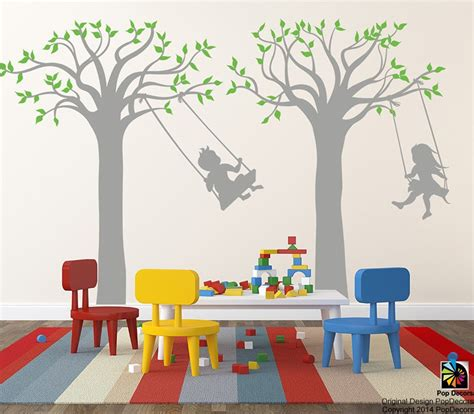 playroom wall stickers children playroom tree wall stickers school vinyl wall decors children play swing 83 quot h