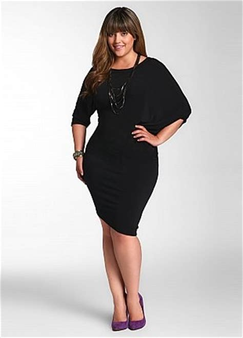 ashley stewart solid stretch dress  curvaceous