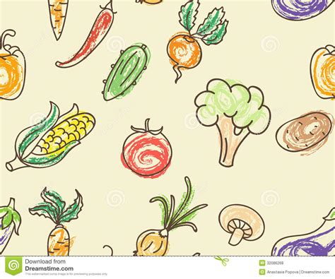 vegetable doodle vector free doodle color vegetables seamless pattern stock vector