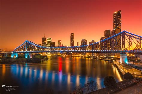 brisbane city story bridge gold sunset artwork canvas