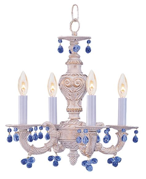 Antique White Wrought Iron Small Chandelier With Murano Crystals Antique White Wrought Iron Small Chandelier With Blue Murano Crystals