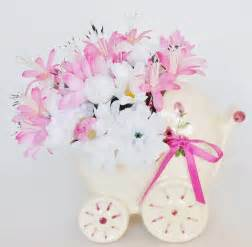Teacup Vase New Baby Silk Floral Arrangement Pink Amp White Daisies
