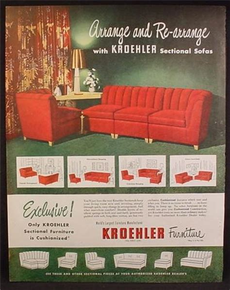 magazine ad for kroehler furniture sectional sofa