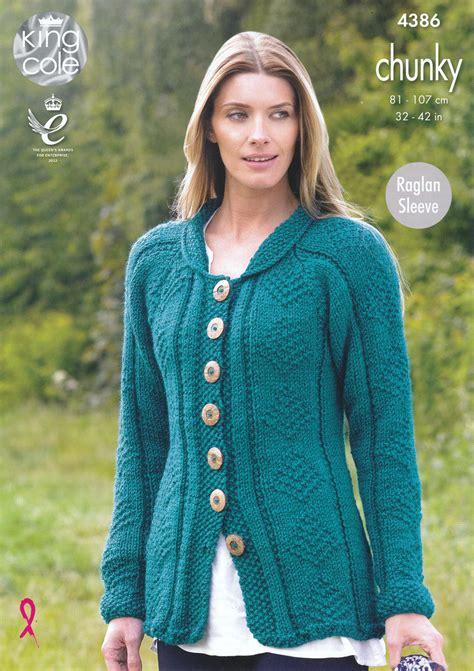 knitting pattern raglan sleeve cardigan king cole ladies chunky knitting pattern womens raglan