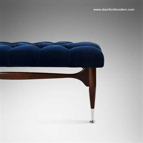 navy bench mid century sculptural tufted bench in navy blue velvet at