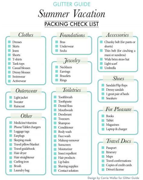 vacation checklist summer vacation packing checklist vacation packing