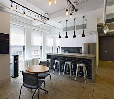 brdesign neoscape workplace architecture interior design cool office pantry bar subway tile industrial lighting work loft office