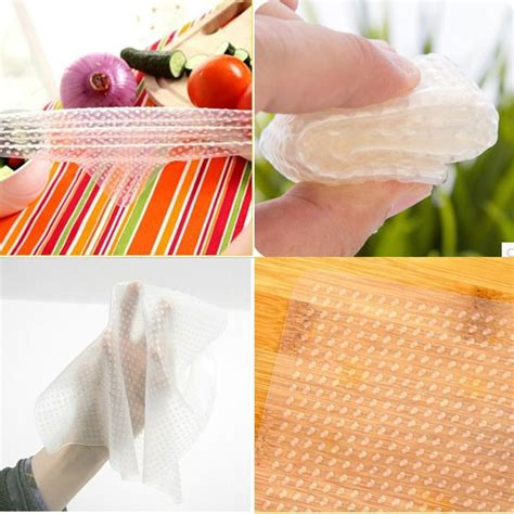Silikon Pelindung Mangkuk Makanan Microwave Reuseable silicone stretch fresh food cling protection silikon pelindung makanan white