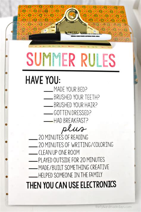 printable house rules list printable summer rules summer track and kid