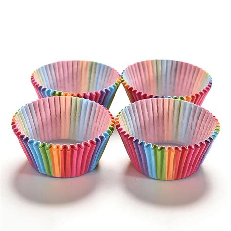 kitchen disposable baking cups multicolor rainbow paper