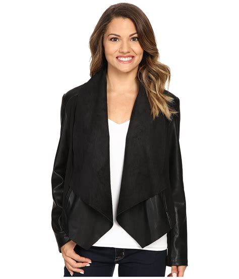 drape front leather jacket kut from the kloth petite ana drape front ponte and faux