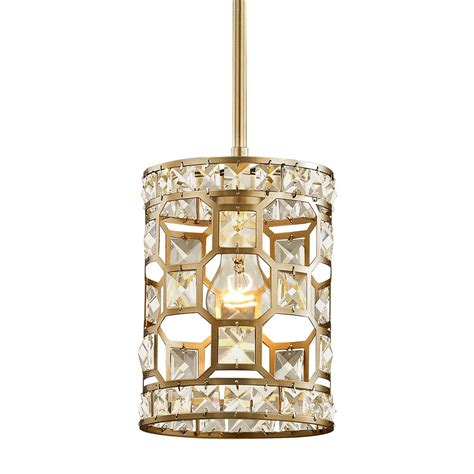 gold mini pendant light 1 light chandelier chagne gold with clear