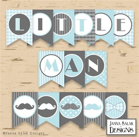 free printable birthday name banner little man birthday or baby shower banner mustache party
