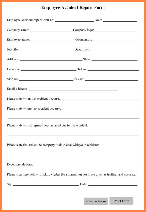 5 workplace accident report form template progress report