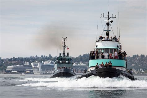 tugboat bay seattle maritime festival tugboat races in elliotto bay