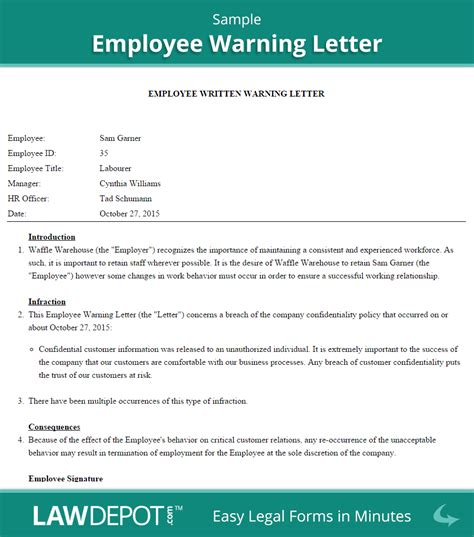 sample warning letter to employee best resume gallery