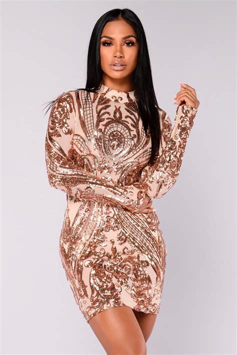 Talinta Dres talitha sequin dress rosegold