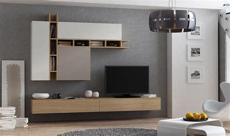 ensemble mural meuble tv avec rangements chne taupe et gris
