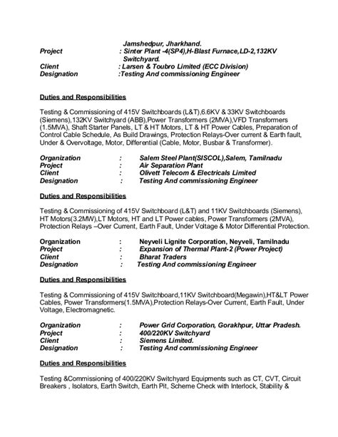 Sle Resume For Electrical Commissioning Engineer Kumar Resume