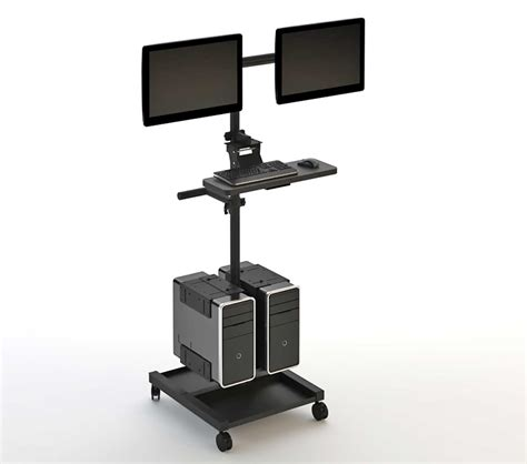 stand up computer desk on wheels black computer cart and workstations