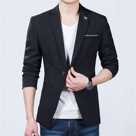 Blazer Korea Slimfit 5 aliexpress buy korean slim fit blazer black one button spider blazer jacket for