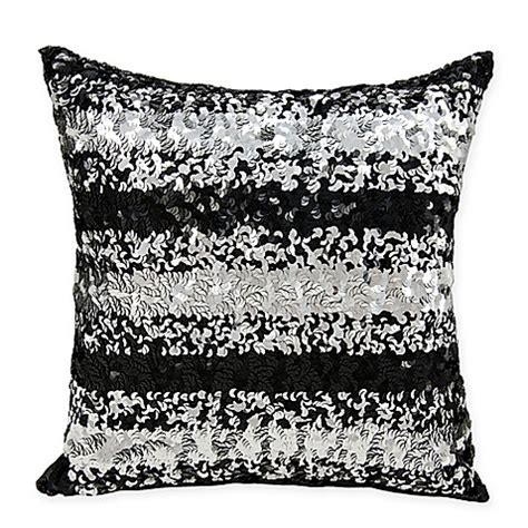 black bed pillows michael amini sequin stripe throw pillow in black bed