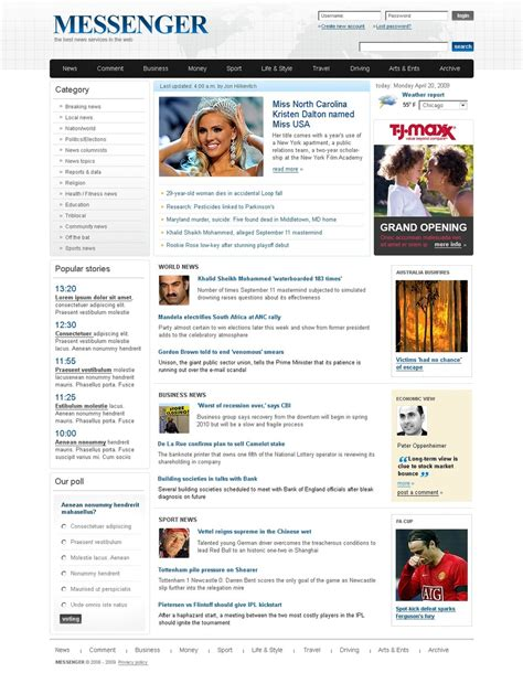 news portal website template web design templates