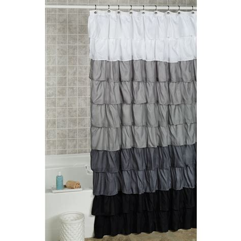 Shower Curtains White Fabric Grey White Fabric Ruffled Shower Curtains On White Hook Of Design Of Country Living