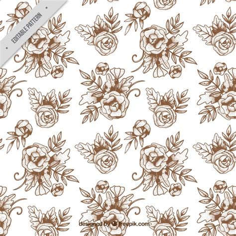 hand drawn flower pattern hand drawn vintage flower pattern vector free download