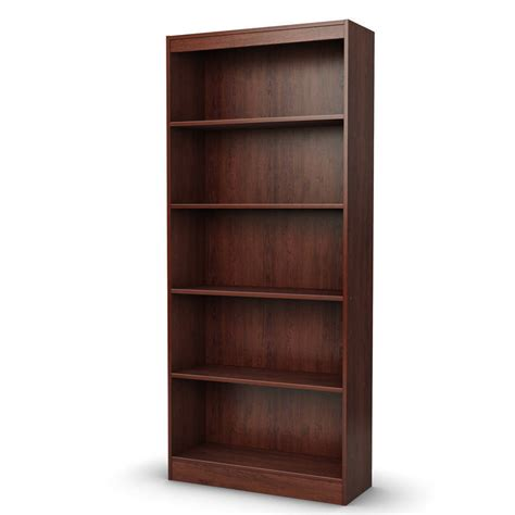 new 5 shelf cherry wood bookcase bookshelf storage wooden