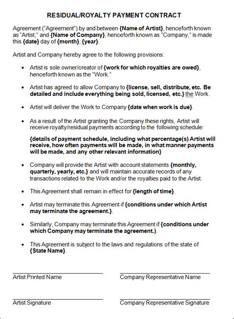royalty contract template sle residue royalty payment contract sle contracts