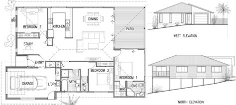 simple house design with plan elevation and section