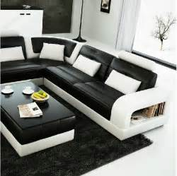 divani casa 6145 modern black and white leather sectional sofa