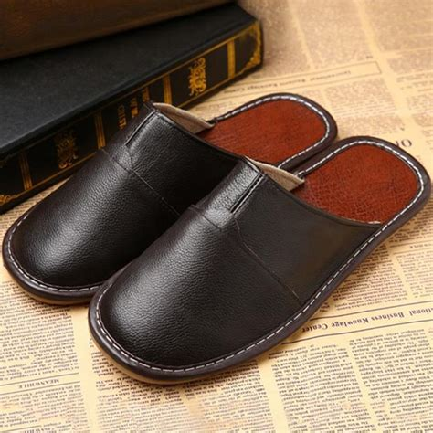 mens leather bedroom slippers mens womens genuine leather slippers shoes mules hand made