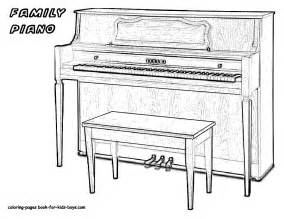 Mighty Piano Musical Instrument Coloring  Free Keyboard sketch template
