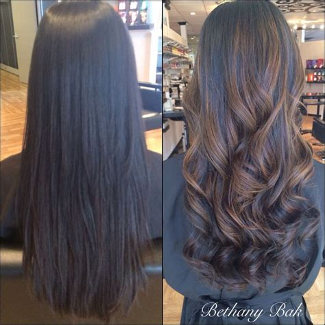 before and after ombre balayage on dark brown color treated hair 15 best images about ombr 233 styles balayage on pinterest