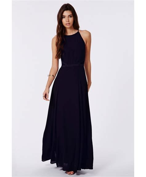Ribbone Maxy Dress Jumbo Lacoste missguided kamilinka lace backless maxi dress in navy in blue navy lyst