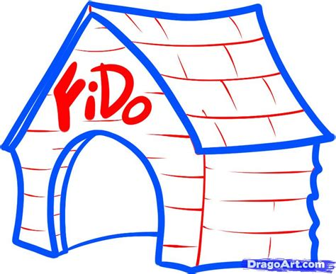 cartoon house drawing in 7 easy steps how to draw a dog house step by step buildings