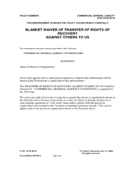 Blanket Waiver Of Subrogation Definition by Waiver Of Rights Form Fill Printable Fillable