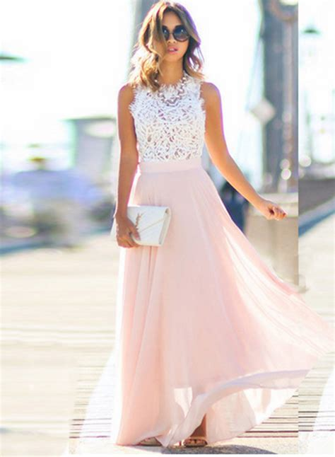 sleeveless lace chiffon evening dress
