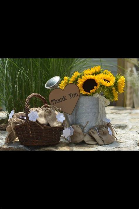 Thank you sun flower bucket with favors from country