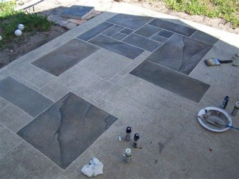 Outdoor Floor Painting Ideas Concrete Patio Faux Slate W I P Wetcanvas Home Pinterest Concrete Porch To Look And Cement