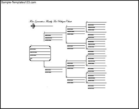 free fourth generation large family tree template sle