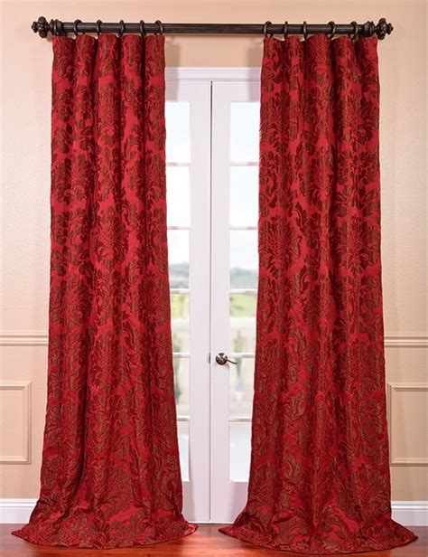 red faux silk curtains astoria red bronze faux silk jacquard curtain