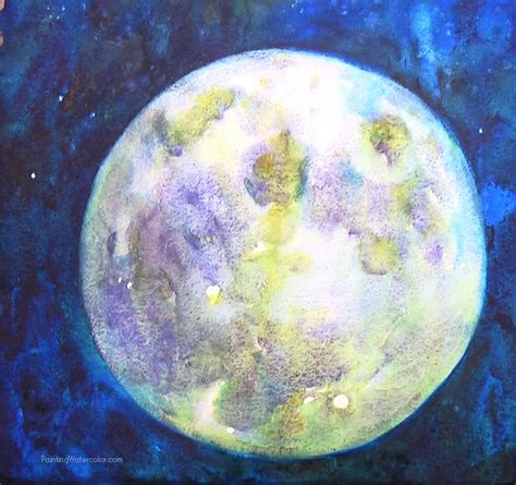 watercolor moon tutorial how to paint a full moon watercolor painting tutorial