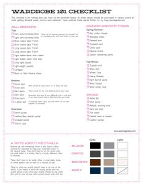 Capsule Wardrobe Checklist by 1000 Images About Wardrobe Planning On