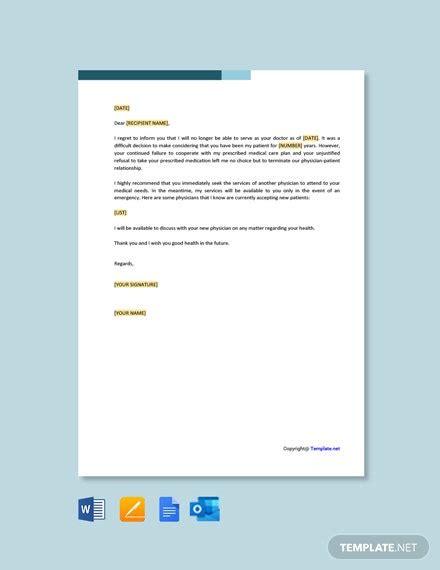 patient termination letter due compliance samples