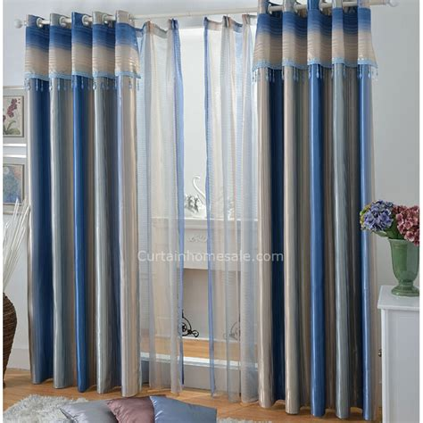 blue striped blackout lounge curtains ideas for living room